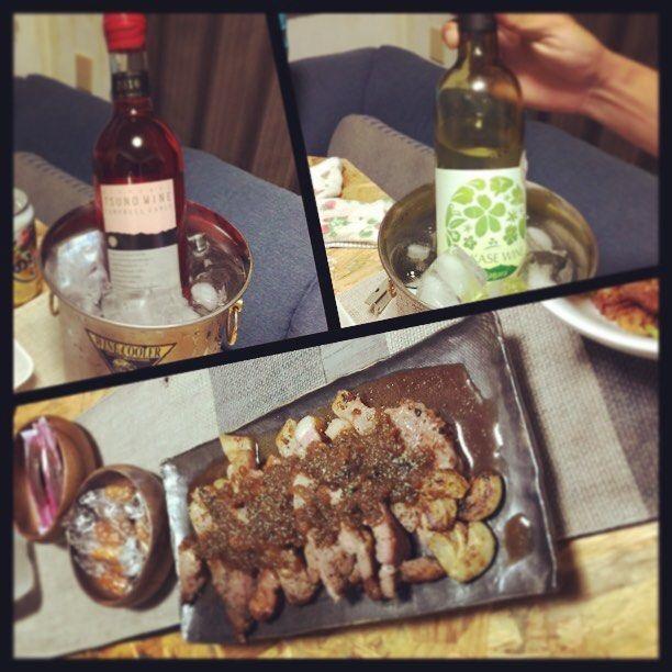 wineと肉…🍷♡ この#ワイン …はまりそう…🙈♡ 葵ちゃん…ありがとう!!💗 #熊本#天草#牛深#晩御飯#パーティー#乾杯#お酒#ホームパーティー#肉#つまみ#田舎#暮らし#五ヶ瀬ワイン#ナイアガラ#キャンベルアーリー#宮崎
