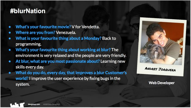 At blur, we have amazing people that work with enthusiasm and passion to provide the best customer experience for both our Customers and Service Providers. Let's meet one of them.