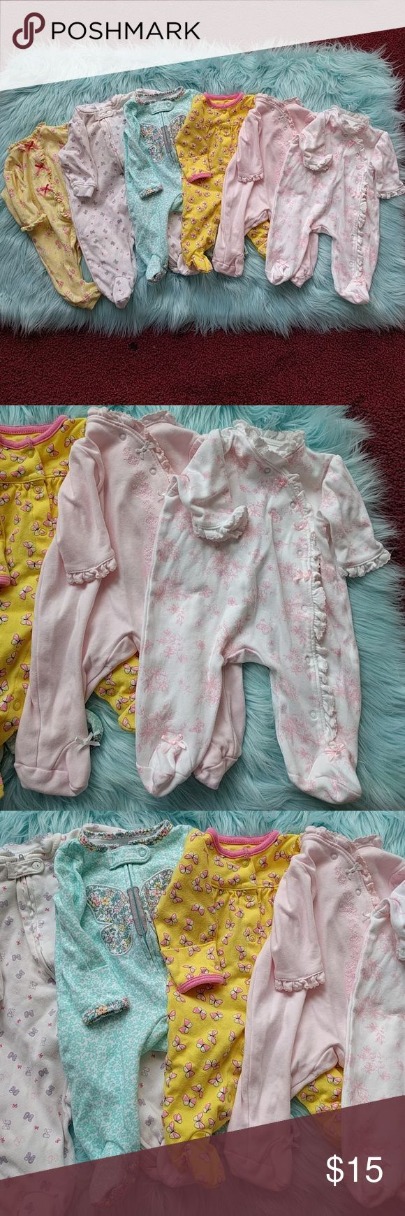 6pc Footsies 5 Newborn and 1 0-3M 5 NB Footsies we're bought brand-new and used once 1 Faded Glory Footsie 0-3M was a hand me down but still in very good condition All have no rips and no stains Little Me One Pieces Footies