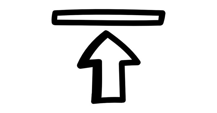 Go to the top hand drawn interface symbol with an arrow pointing up to a thin rectangle free vector icon designed by Freepik