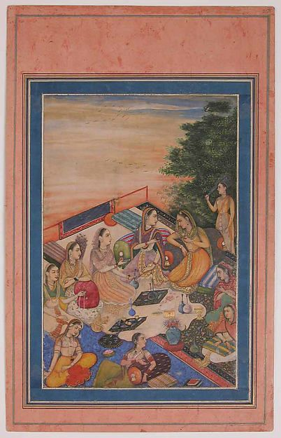 """Women Feasting on a Balcony"", Folio from the Davis Album, late 17th–early 18th century. Islamic. The Metropolitan Museum of Art, New York. Theodore M. Davis Collection, Bequest of Theodore M. Davis, 1915 (30.95.174.26)"