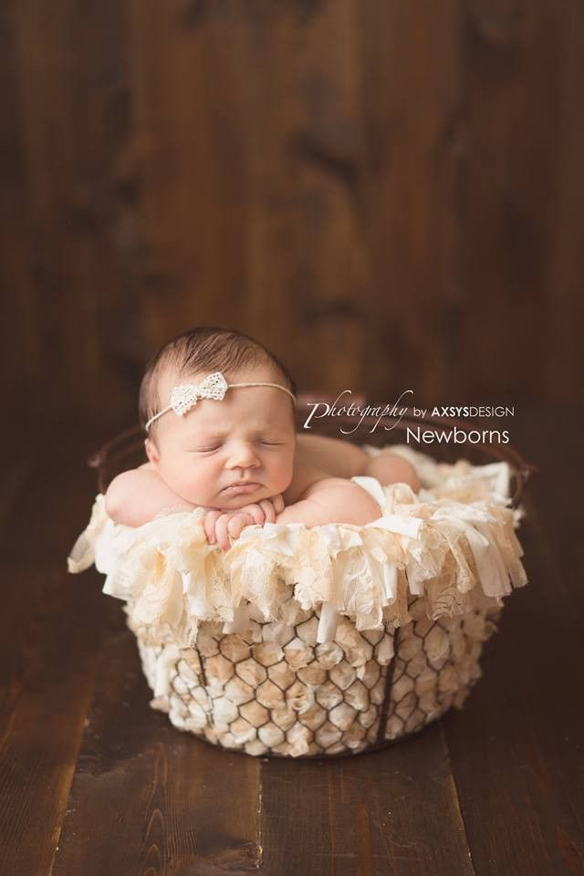 Peaches n cream newborn rag basket stuffer photo prop ready to ship