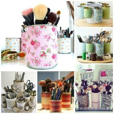 Recycler des boites de conserve et des rouleaux en cartons pour vos pinceaux et vos crayons de maquillage