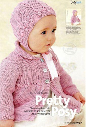 Babies-Knitting-Pattern-Pretty-Posy-Cardigan-Bonnet-in-Sublime