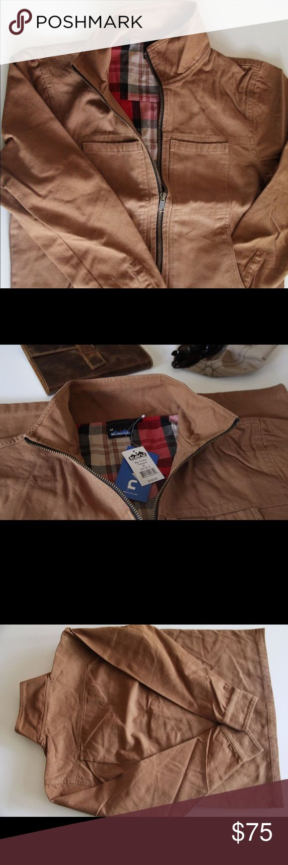 Kavu Big Timber Jacket Cotton Canvas Tobacco Color NWT!! This men's jacket is a full zip outdoor jacket made with 100% cotton canvas outer and flannel liner on the inside. It has a stand collar, front chest pockets, and lower pouch patch pockets, adjustable sleeve cuffs with snaps, and a straight hem. Large brass zipper. Kavu Jackets & Coats Military & Field