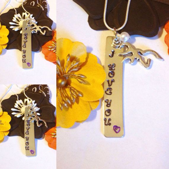 I love you stamped necklace with deer charm and by CraftyLouLou1