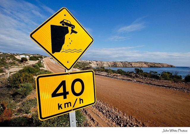 Unstable cliff warning sign. Elliston. Eyre Peninsula. South Australia.no more needs to be said :)
