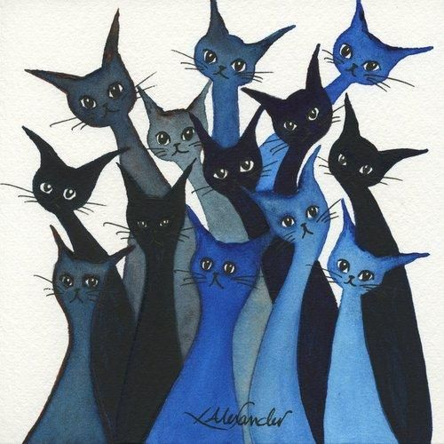 Whimsical Cats: Watercolour art 'Escondido Stray Cats by Lori Alexander #straycatart ♥•♥•♥