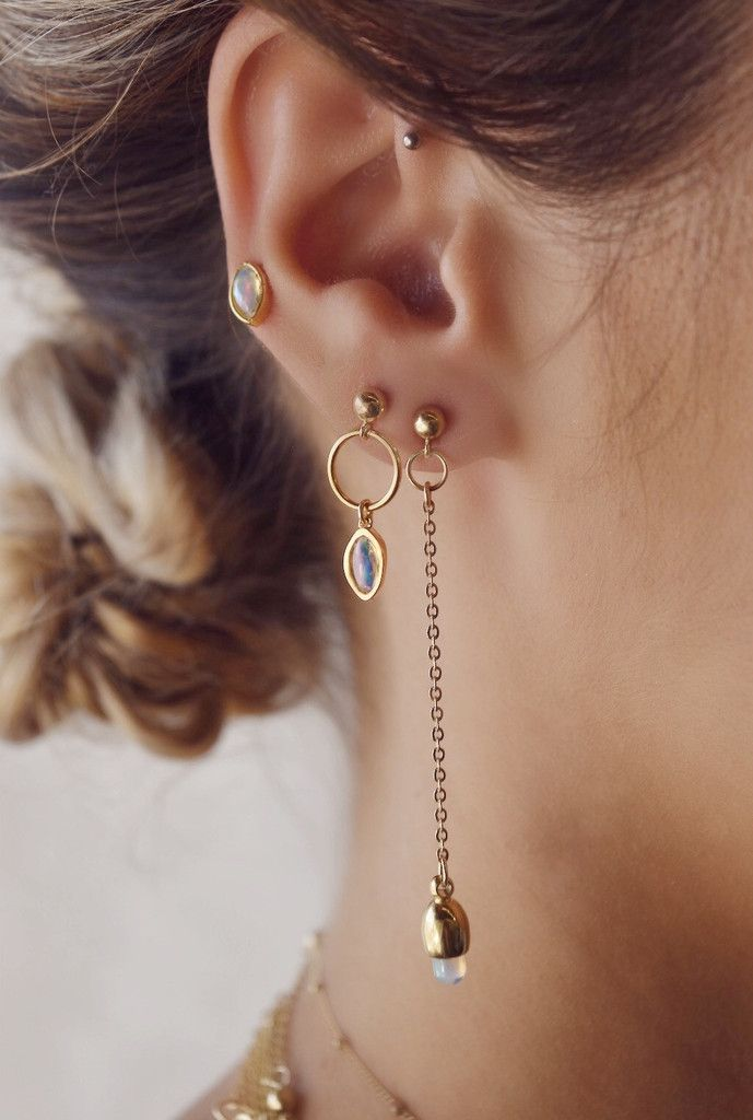 STYLE |  Asymmetrical drop earrings with teardrop opals.STONE | Welo Ethiopian Opal                Ethiopian Opals carry positive dragon energy, for both person