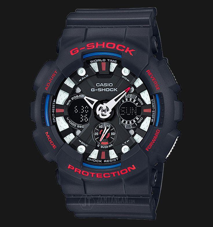 Beli jam tangan Casio G-Shock GA-120TR-1ADR - Water Resistance 200M Dark Blue Resin Band - Daftar Harga jam termurah, review, spesifikasi lengkap Indonesia di Jamtangan.com