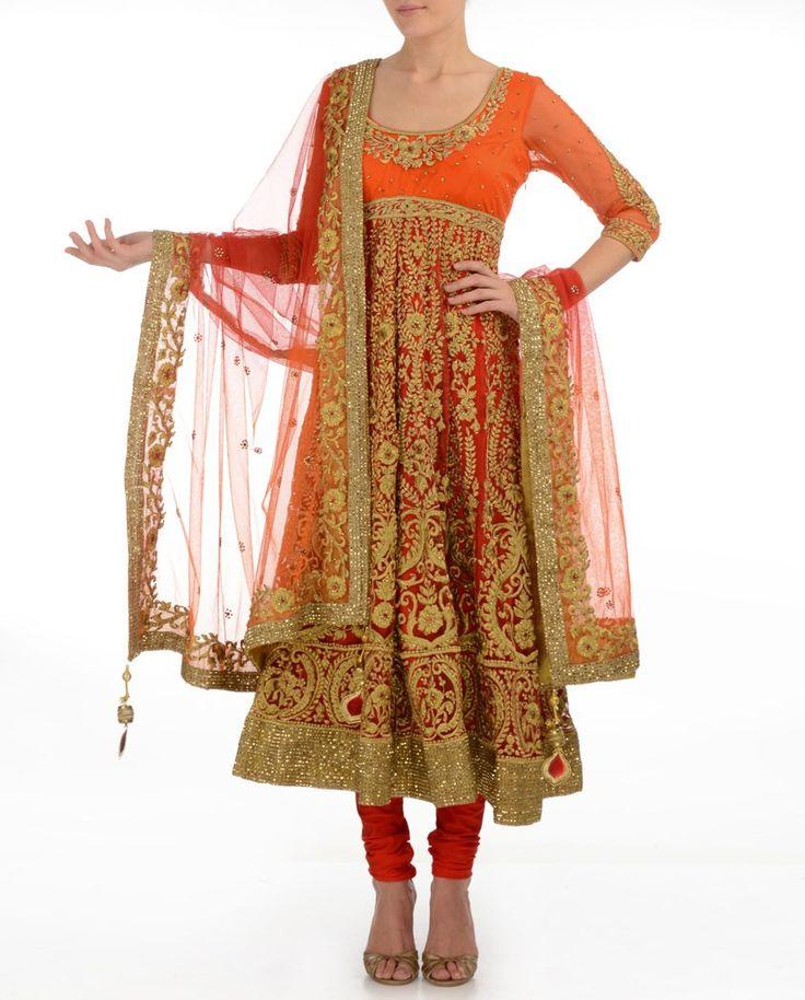 Vermilion Red Anarkali Suit with Zari Flowers - Buy Preeti S. Kapoor Online | Exclusively.in Shop Online | Indian Bridal Wear | Wedding Wear