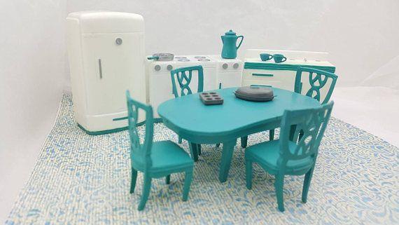 Plasco Kitchen White and Aqua Toy Dollhouse Traditional Style 1944 fridge Stove Sink Table Chairs MCM #StoveFridgeSink #KitchenAppliances #RenwalToyDoll #MinimalScratch #TinLithoHouse #DollFurniture #ToyFurniture #MiniatureCounter #MarxMarxieMansion #WlvEcochicteam #dollhouse#miniatures#dolls#vintagetoys#retro#midcentury#marx#renwal#minimalscratch#etsyseller