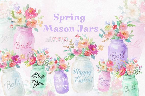 Spring Clipart Wedding Clipart Watercolor Clipart Mason Jar