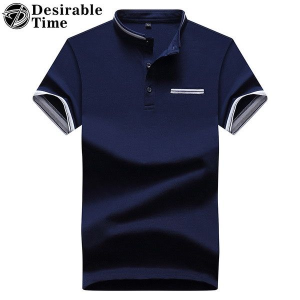 Mandarin Collar Short Sleeve White Polo Shirt Men Fashion Summer Breathable Mens Designer Polo Shirts