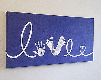 "Any Color, Love Handprint and Footprint with Heart, Canvas Art with Print Kit, Custom Handpainted Keepsake, 12x24"""
