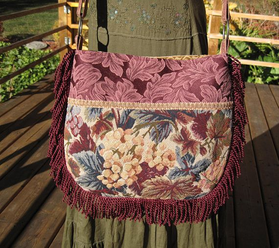 Sassy Fringed Tapestry Hippie Gypsy Boho Cross Body Messenger