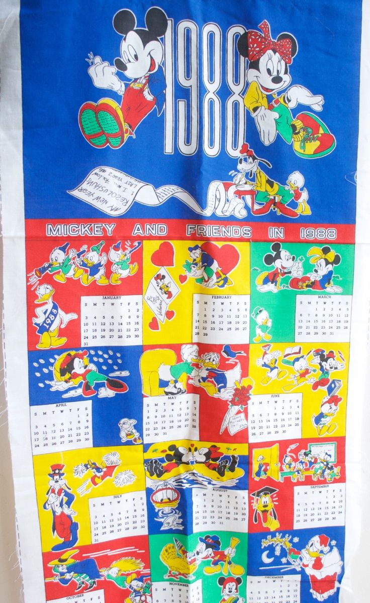 29.99 USD 1988 Walt Disney Calendar by Walt Disney Co Mickey and Friends Fabric Calendar Fabric Remnant made by Peter Pan Fabrics