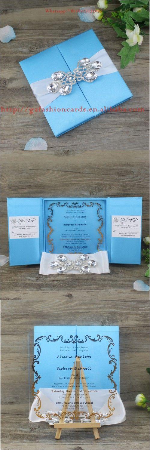 silk box wedding invitations indian%0A Fashion Design Brilliant Sky Blue Europe Style Silk Invitation Boxes with  Brooch  Transparent Square Acrylic Wedding Invitation Cards