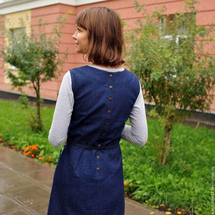 Купить Джинсовый сарафан - тёмно-синий, однотонный, сарафан, сарафан из хлопка, дизайнерская одежда