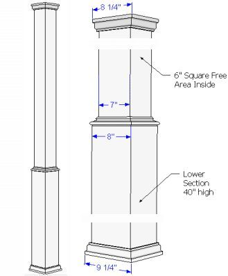 pictures of exterior trim on square posts on front porch | PVC column Wraps | Tapered Tuscan Columns | Column Capitals & Bases