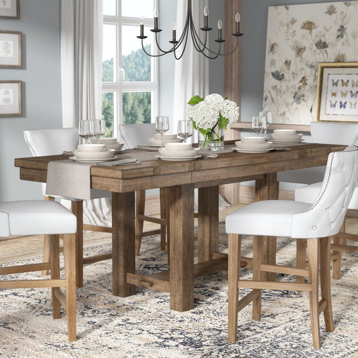 Hillary Rectangular Counter Height Extendable Dining Table Dining Room Table Decor Dining Table French Country Dining Room