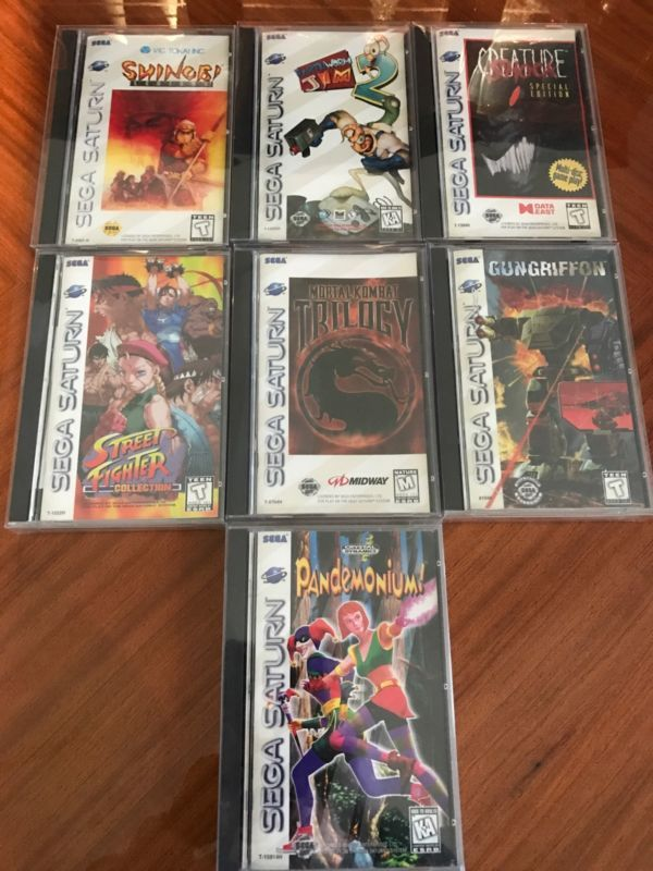 7 US Sega Saturn Games  #retrogaming #HotSS  With Street Fighter Collection Shinobi Legions Mortal Kombat Trilogy Earthworm Jim 2 Pandemonium Creature Shock and Gungriffon. In very good condition. Auction ends in some hours.