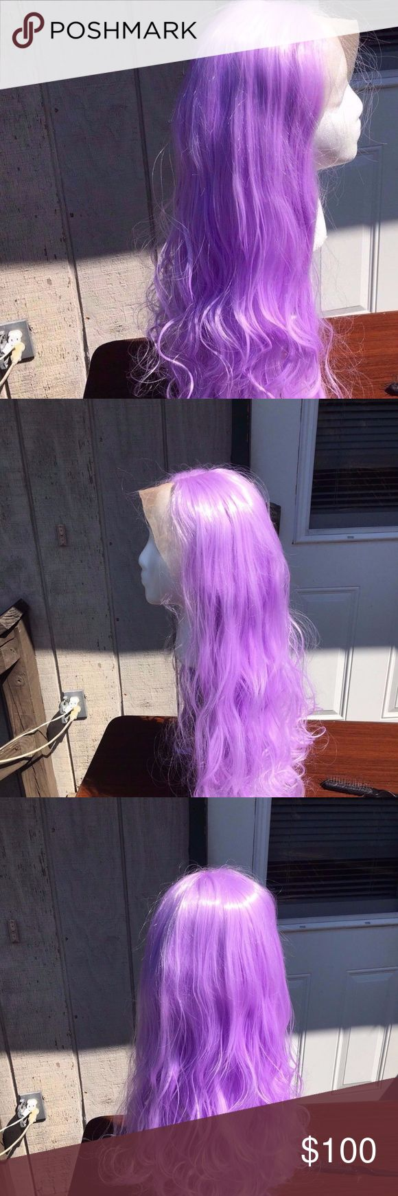 """Long Lila Purple Wig Cosplay Halloween This is """"Lilly""""!  This is a beautiful very light Lilac/Purple colour. This wig is a beautiful long versatile wig with soft big waves and is slightly layered on the ends, it is 22 inches long from the nape when pulled straight. It is HEAT SAFE, you can easily restyle it with heat appliances on medium-low.  The wig has a side part lace extension.  The wig has light lace and can easily be blended out with contour powders. 3 combs sewn in for extra…"""