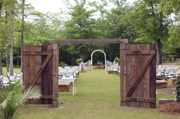 barn doors ceremony entrance, rustic outdoor wedding ceremony, Two Chics Photography