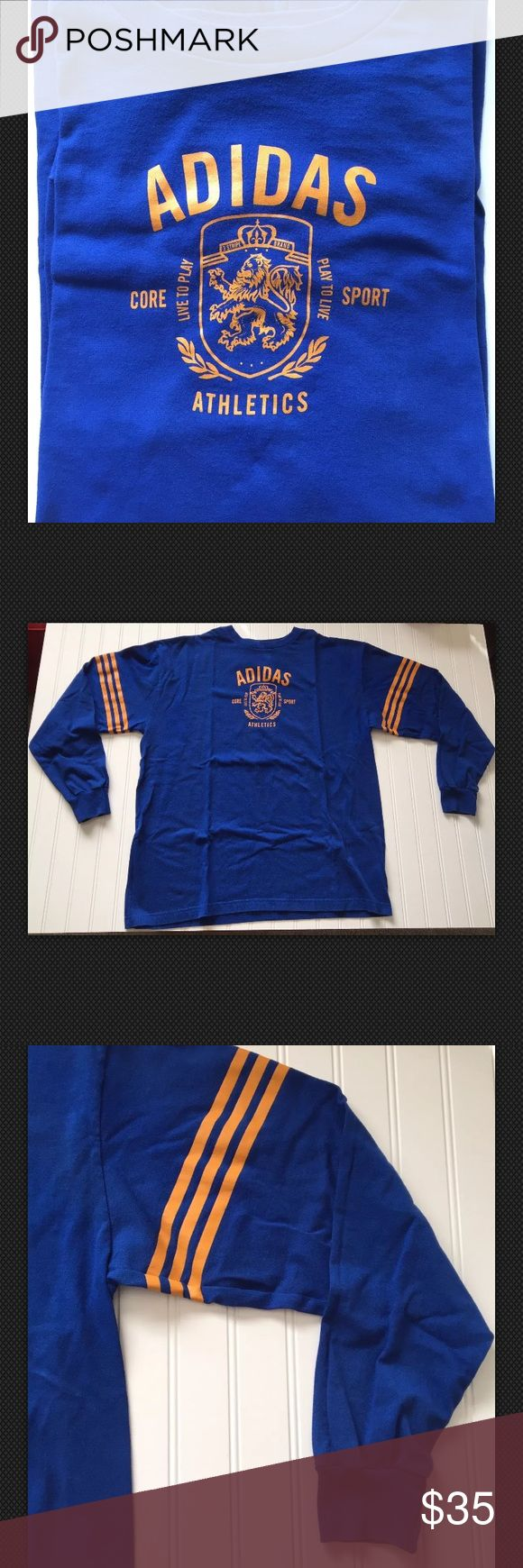 ADIDAS Blue/Orange-Chest Crest  XL-NICE  EUC! Vintage? ADIDAS Long Sleeve T! Solid Blue w/ 3 Orange stripes on each arm, orange chest crest & lettering! Very cool shirt! Excellent condition! Soft! Size XL Armpit to armpit: 25 inches Top back collar to bottom of shirt: 28 1/2 inches Top shoulder hem to tip of sleeve cuff: 25 inches adidas Shirts Polos