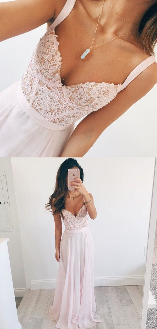Elegant A-line V-neck Long Chiffon Baby Pink Long Prom Dress Evening Dress