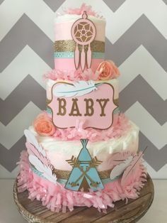 Tribal Baby Shower Centerpiece in Pink, Mint and Gold, Bohemian Baby Shower Diaper Cake, Teepee by AllDiaperCakes on Etsy https://www.etsy.com/listing/270657325/tribal-baby-shower-centerpiece-in-pink