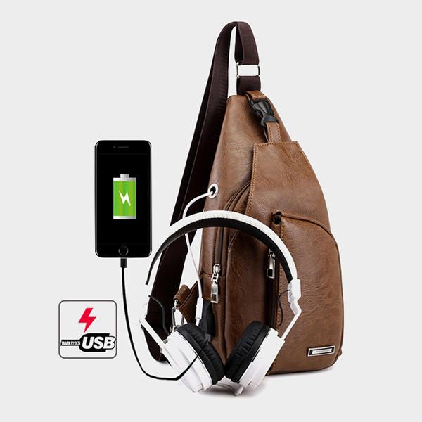 Men Resistant Anti Theft Chest Bag Travel Daypack with USB Charging Port