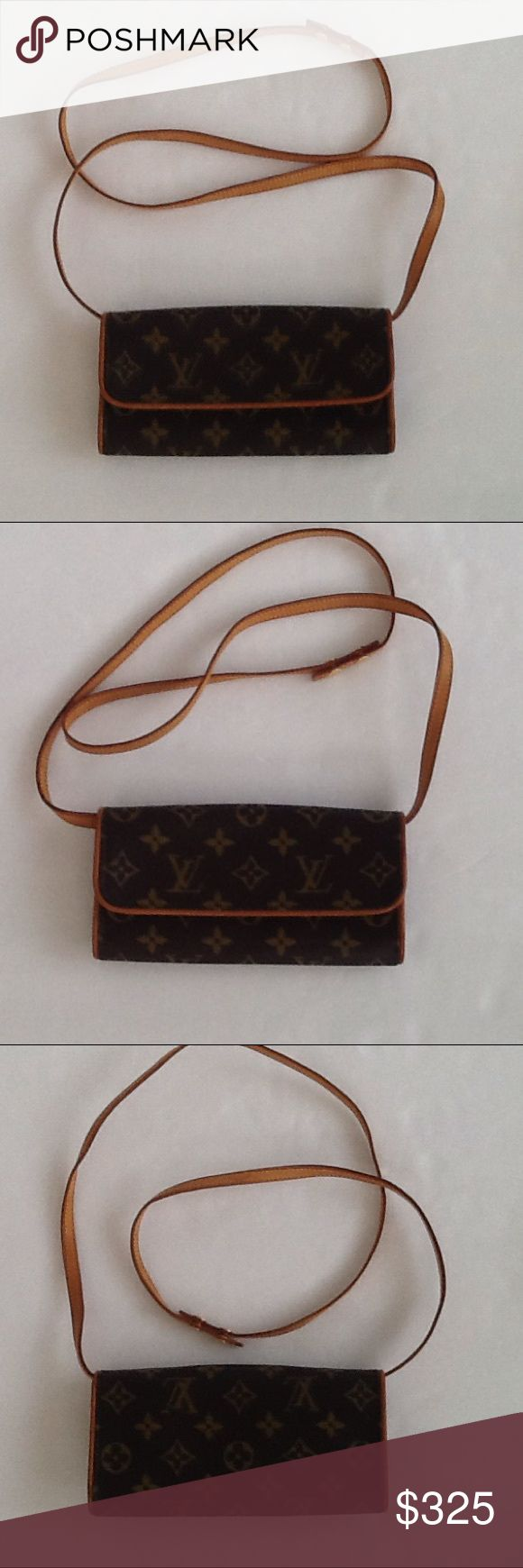 Authentic Louis Vuitton Twin Pochette Monogram Bag The bag is in a good ondition. The canvas and leather showed very light of wearing. The bag was made in Soain. The date code CA 0999. The dimension is 3.5, 7 and 1. The bag came with a dust cover bag. Louis Vuitton Bags Crossbody Bags