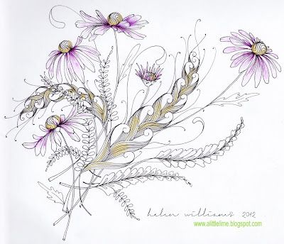 Wow i love this motif for a tattoo!  a little lime: coneflowers & feather pattern