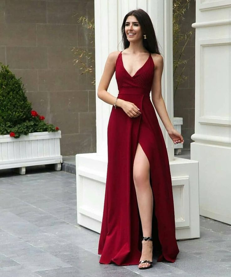 Sexy Red Prom Dress , Spaghetti Straps Party Dress,V Neck Prom Dress With Side Slit