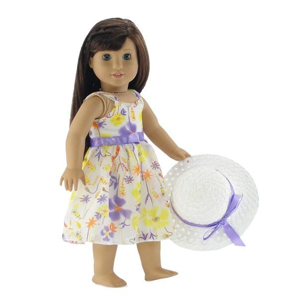 18 Inch Doll Clothes Gorgeous Floral Easter Dress With Purple Trim Including White Hat With Matching Ribbon Fits 18 American Girl Dolls Walmart Com In 2020 Doll Clothes American