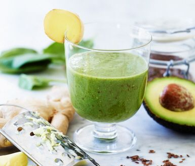 Drick dig piggare med en smoothie laddad med massor av goda nyttigheter. Avokado, ingefära, banan och spenat är några av ingredienserna i vår enkla energismoothie. Bara att mixa och servera!