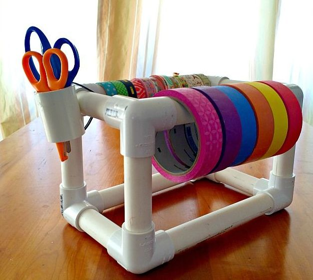 Best home depot hacks tape dispenser pvc pipe and pipes for Pvc pipe craft projects