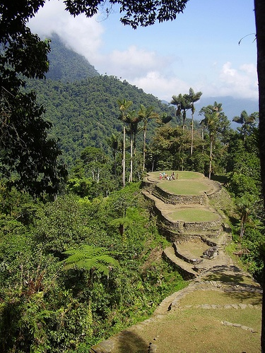 A great view of Ciudad Perdida with some beautiful puffy white clouds framing the mountains in the background.
