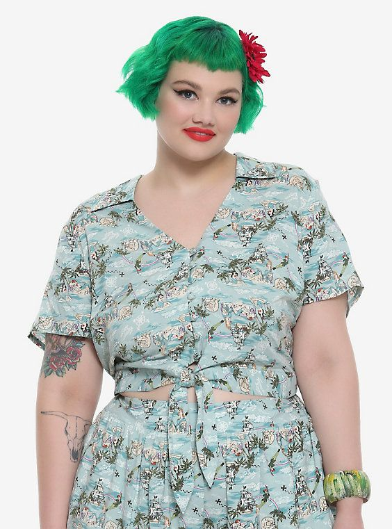 55f343b0f2d Her Universe Disney Peter Pan Mermaid Lagoon Retro Tie Front Girls Crop  Woven Button-Up Plus Size