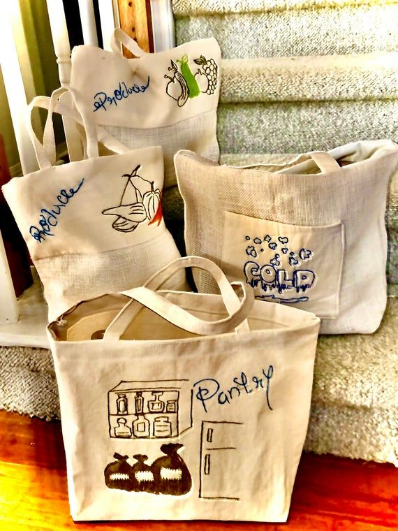 Grocery Meat Bag Embroidered Grocery Bag Grocery Tote Bag Reusable Grocery Bag