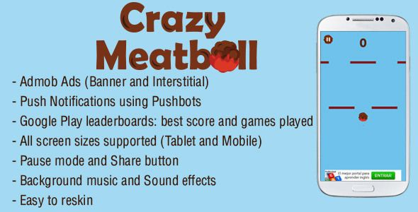 Crazy Meatball - Admob + Leaderboard + Share - http://nulledtemplates.net/scripts/codecanyon/crazy-meatball.html  Crazy Meatball is an enjoyable Android game. The aim of the game is to get the maximum amount of points avoiding the obstacles while you control one or two meatballs just taping on the screen.    Author  guillocrack   Distributor / Market  codecanyon, envato   Files Included  .apk, .java, Layered PNG   Software Version  Android 2.3, Android 2.3.3, Android 3.1