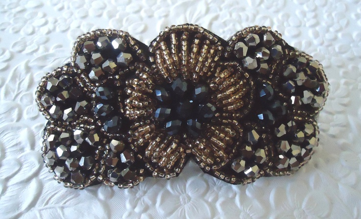 One black gold embellished beaded floral by EmbellishedLife, $18.00