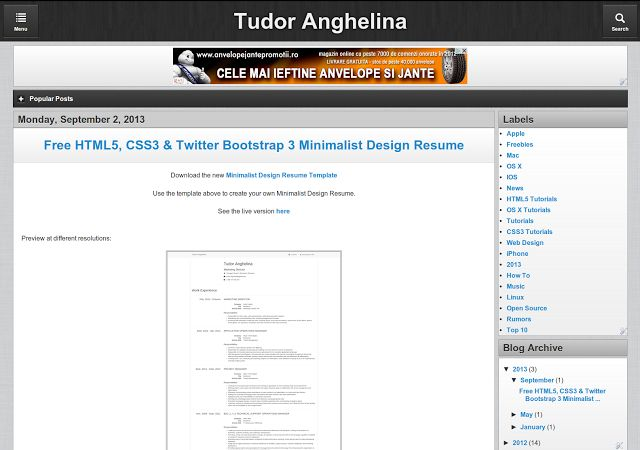 Free Blogger Template - HTML5 CSS3 jQuery Mobile