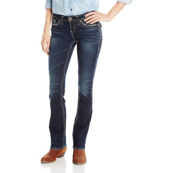 Silver Jeans Junior's Aiko Mid Rise Slim Bootcut Jean with Flap... ($95) ❤ liked on Polyvore featuring jeans, mid rise bootcut jeans, white bootcut jeans, white slim fit jeans, slim jeans and silver jeans