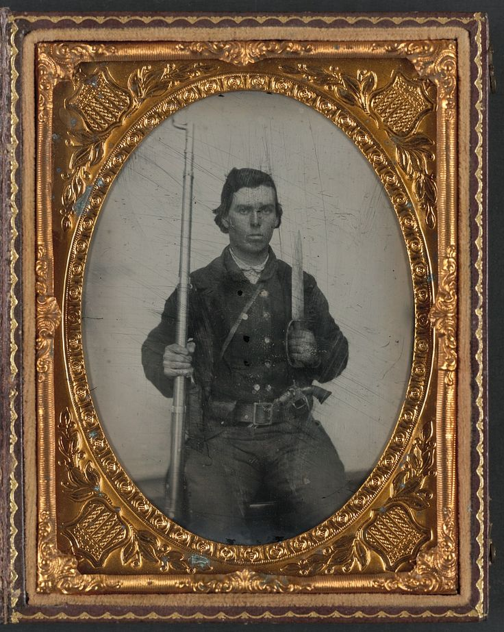C 1861 1865 Soldier In Confederate Uniform With D Guard