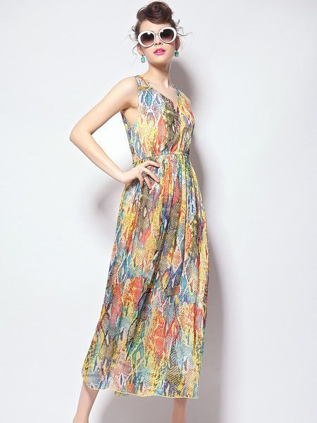 #Stylewe Dyed Polyester Maxi #Dress #summer #beach #holiday #bright #beauty