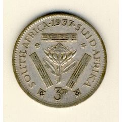 1937 South Africa 3 pence (tickey), book value R275 in EF - as per scan *** @ Crazy R1 Start*** for R56.00