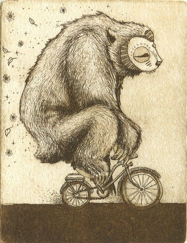 Alexis Aronson bicycle bear hardground and aquatint on hanhemuhle paper