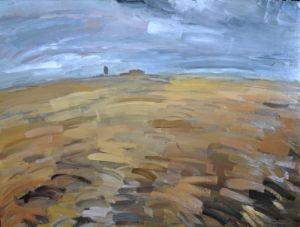 Val d'Orcia - olio su tavola cm 142 x 108
